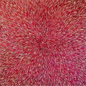 Radiation with Brown, Magenta and Violet 40″ x 40″ Oil on Canvas
