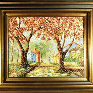 "Radiant Landscape 7 Oil on Found Framed Painting 16"" x 20"""
