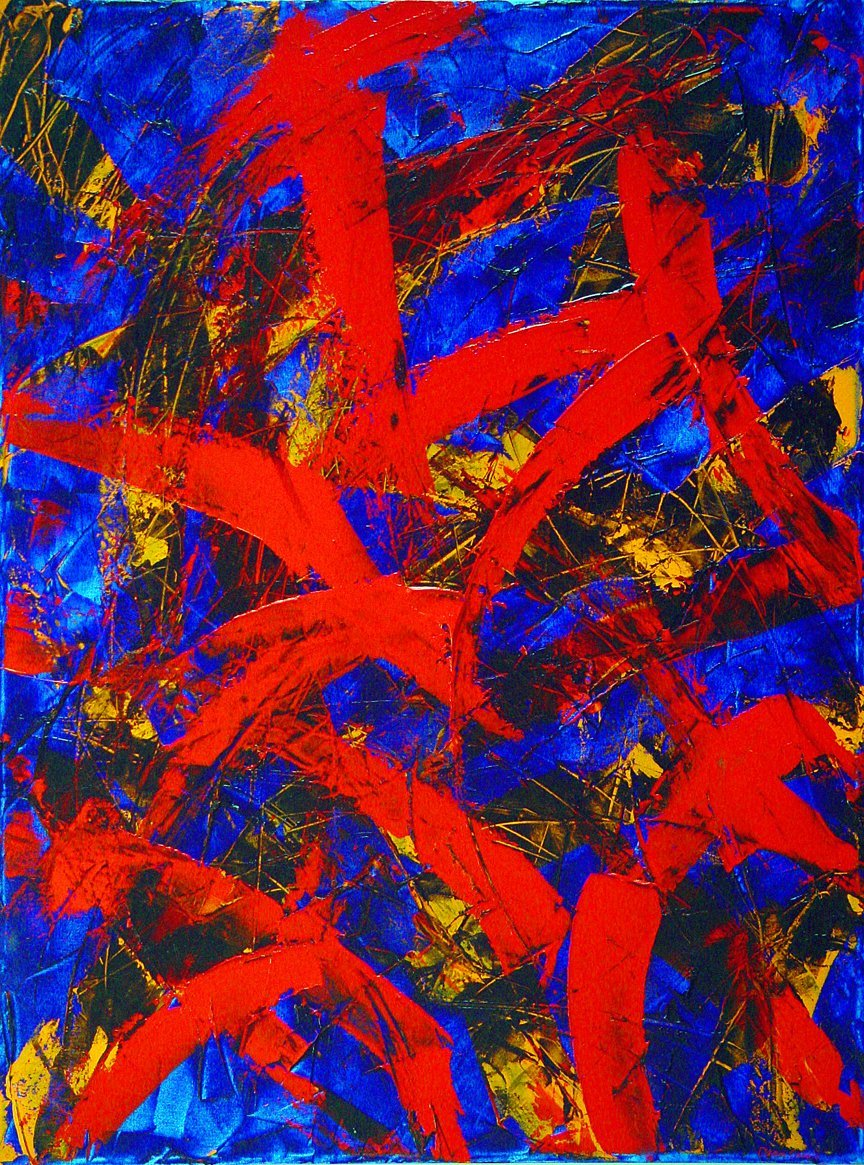 "Transitions with Blue and Orange Oil on Canvas 30"" x 40"""