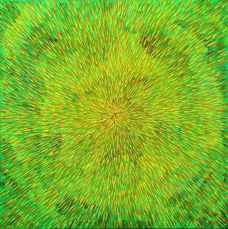 Radiation with Green, Yellow and Orange 24″ x 24″ Oil on Canvas