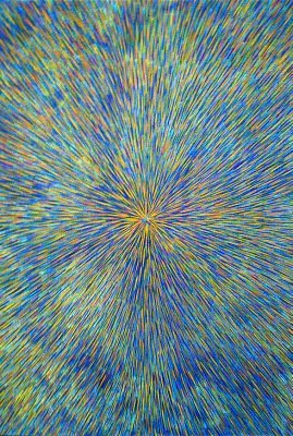 Radiation with Blue, Violet and Yellow 24″ x 24″ Oil on Canvas