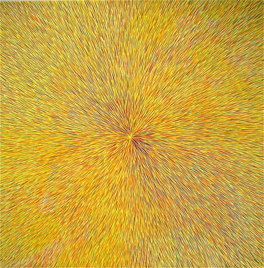 Radiation with Yellow, Orange and Green 24″ x 24″ Oil on Canvas