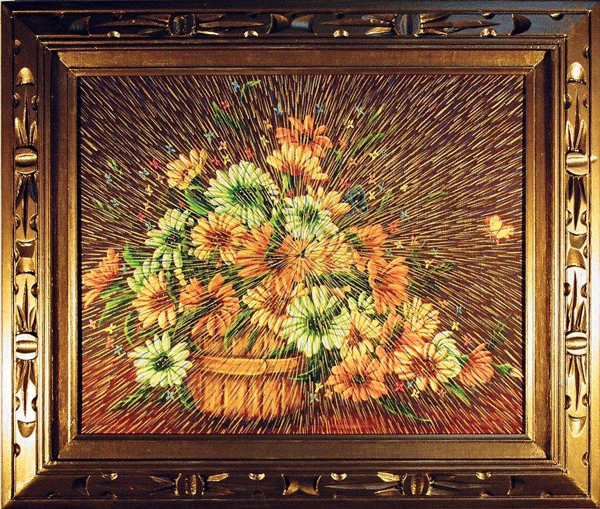 "Radiant Landscape 10 Oil on Found Framed Painting 16"" x 20"""