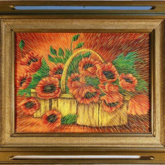 "Radiant Landscape 12 Oil on Found Framed Painting 16"" x 12"""