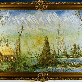 "Radiant Landscape 2 Oil on Found Framed Painting 19"" x 34"""