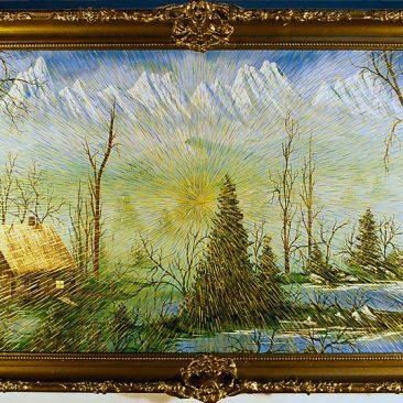 "Radiant Landscape 2 Oil on Found Framed Painting 19"" x 34"""