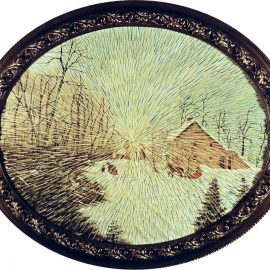 "Radiant Landscape 21 Oil on Found Framed Painting Aprox 20"" diameter"