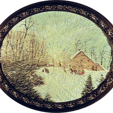 """Radiant Landscape 21 Oil on Found Framed Painting Aprox 20"""" diameter"""