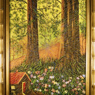 "Radiant Landscape 6 Oil on Found Framed Painting 18"" x 24"""