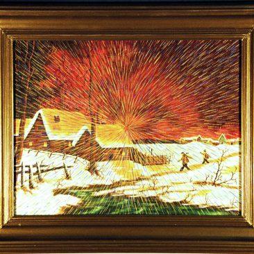 "Radiant Landscape 13 Oil on Found Framed Painting 18"" x 14"""