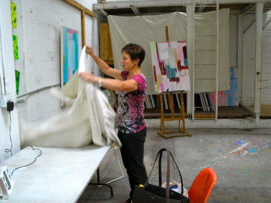 Lauri Burrier at work in her studio.
