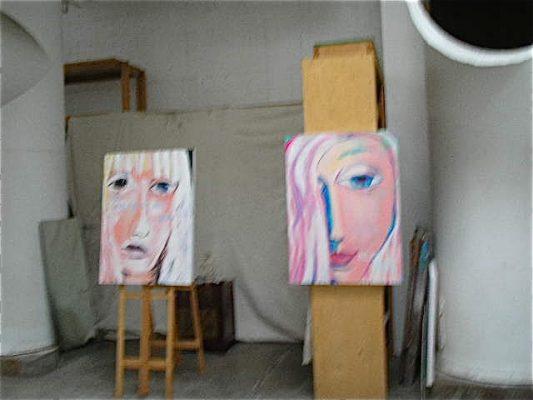 Work of Lauri Burrier in her studio.