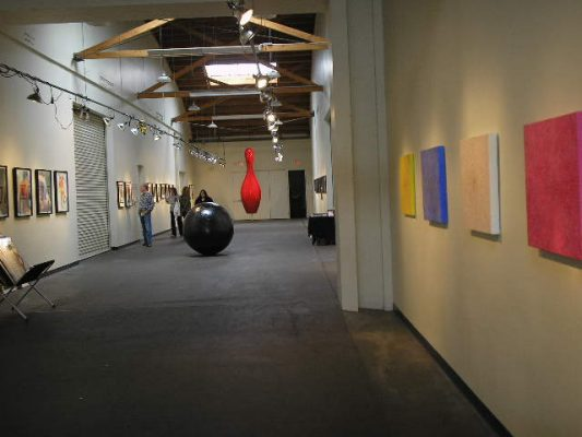 A look down the hall going from Washington to Venice Bl. My paintings are on the right.